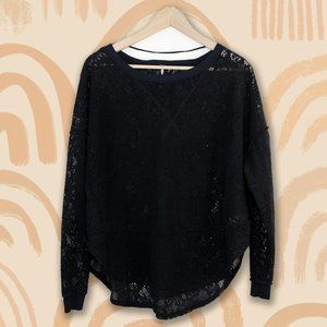 Free People Black Witchy Floral Lace Shirt Sweater
